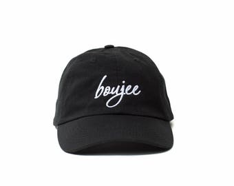 Boujee Hat, Boujee Dad Hat, Boujee Baseball Cap, Embroidered Baseball Cap, Adjustable Strap Back Baseball Cap, Low Profile, Black
