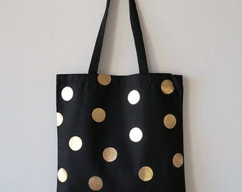 Gold Polka Dots Black Canvas Tote Bag