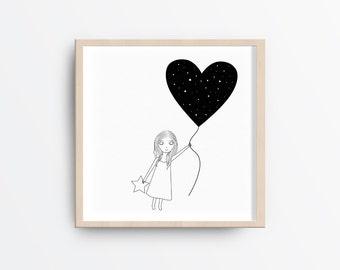 Printable girl nursery art, Star Nursery printable, Printable girl and stars illustration, Black and White Artwork, Nursery gift, 8x8 print