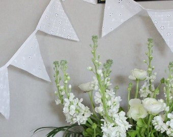 White Lace Bunting, Banner, Wedding, Lace Flags, Baby Shower Decoration Fille, Bridal Party