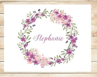 Fancy Customized Floral Wreath Stationery - Fancy Personalized Stationary