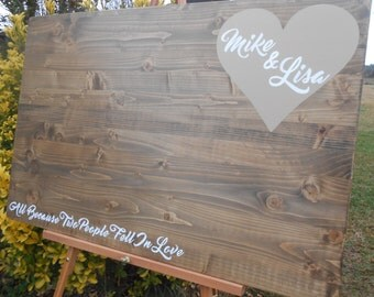 Wood guest book, wooden guestbook alternative, rustic wood guestbook, personalized.