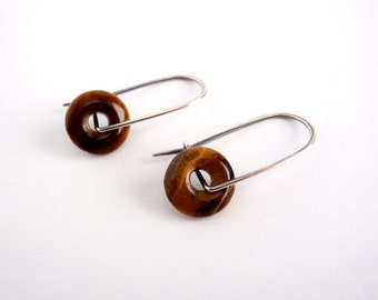 Tiger Eye Earrings ~ Small ~ Handcrafted Kidney Hooks ~ Eco-Friendly Recycled Sterling Silver ~ Shimmery Golden Caramel Brown ~ Perfect Gift
