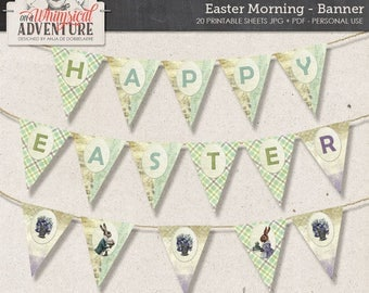Easter printable party banner digital download, printable digital collage sheet, spring, Easter bunny, egg hunt, party printable party decor