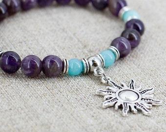 Mala bracelet Sun bracelet Amethyst bracelet Healing crystal jewelry Spiritual gifts for girlfriend gift for her birthday gift for wife gift