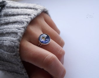 Earth Ring, Adjustable Planet Ring, Galaxy Jewelry, Space Ring for Her, Birthday Gift, Solar System Ring, Girlfriend Gift, Universe Ring