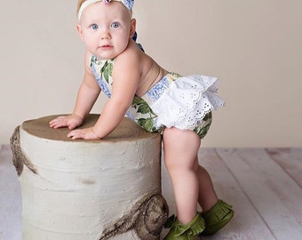 Baby Girl Romper, blue floral romper and head wrap set, hydrangea romper, Easter outfit, girls spring outfit, spring romper
