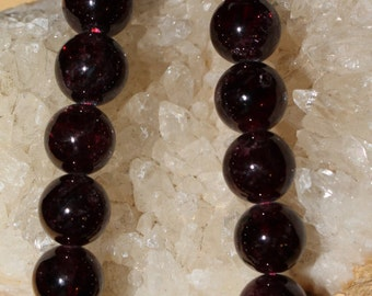 """8"""" Strand of 9mm Smooth Round Red Garnet Beads #44 Good Quality!"""
