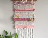 Woven wall hanging // pink, gold, rose, pastels. Woven wall art, saori weaving, tapestry, nursery decor, hand woven.