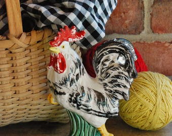 FREE SHIPPING! - Vintage Ceramic Rooster - French Country Style - Mid Century Hand Painted Rooster - Shabby Chic Cottage - Rustic Farmhouse