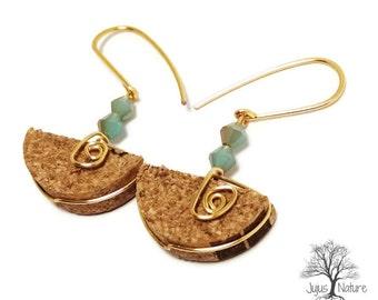 Gold Cork Earrings, Recycled Wine Cork Earrings, Unique Cork Jewelry, Creative Wine Cork Gift Idea, Wine Inspired Earrings