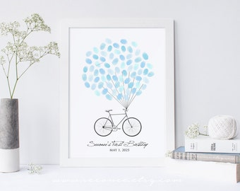 Bike Fingerprint Guestbook, Bicycle birthday Thumbprint Guestbook, Single bicycle Guest book alternative gift, Digital file printable custom