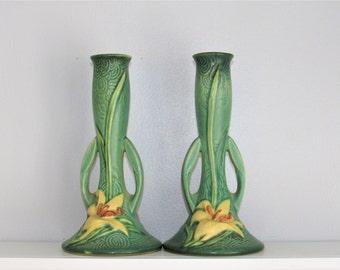 Roseville Zephyr Lily Bud Vases Pair