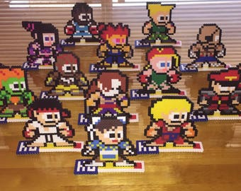 Street Fighter Perler Bead Sprites or Magnets