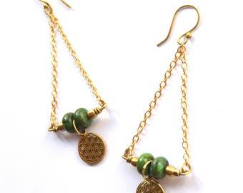 Turquoise Earrings, Flower of Life, Ethnic Earrings, Statement Earrings, Gemstone Earrings, Indian Earrings, Boho Earrings