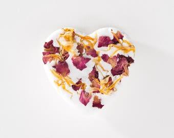 Lemon Blossom Bath Bomb/ Heart Bath Bomb/ Organic Bath Bomb/ Floral Bath/ Natural Bath Bomb/ Bath Fizzy/ Bath Fizzie
