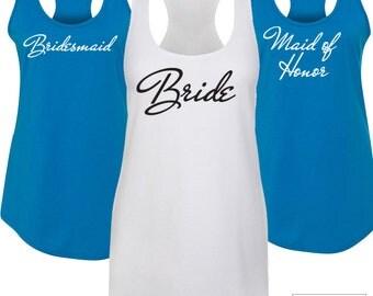 Bridal Racerback Tank Top / Bridesmaid Tank Top / Bride Tank / Team Bride tank / Bridesmaid Tank / Custom Racerback Tank Top / 443