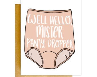 Panty Dropper, Granny Panties, Funny Valentines Card, Card for Him, Funny Love Card, Card for Boyfriend, Card for Him, Anniversary Card
