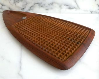 Vintage Mid Century Danish Modern Denmark Digsmed Teak Wood Serving Tray Platter with Textured Spikes