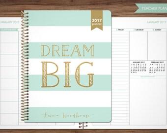 2017 2018 teacher planner 2017-2018 planner teacher lesson plan TEACHER PLANNER - TABS weekly calendar agenda / mint gold stripes dream big