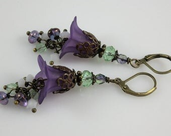 Bronze Green and Purple Lucite Flower Czech Glass and Swarovski Crystal Beaded Floral Earrings