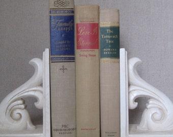 Vintage Book Bundle in Beige, Tan Decorative Books, Wedding Book Set