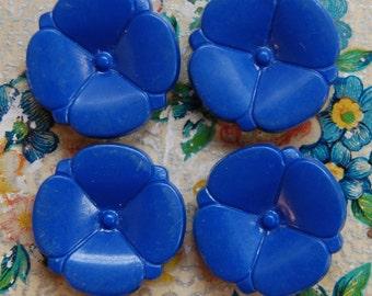 1950's Ultramarine Blue Columbine Flower Button Set x 4