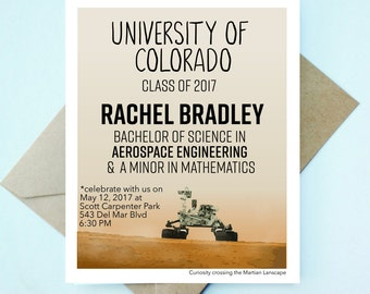Custom Engineer Graduation Cards - Set // Aerospace Engineer Graduation - Custom Graduation Announcements - Engineer Announcements - Space