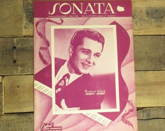 Vintage 1946 'Sonata' by a Young Perry Como, Hot Pink Sheet Music Booklet.