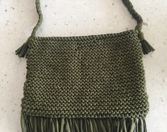 Khaki textured beach bag
