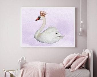 Swan poster, swan print, gold crown, watercolor, swan nursery, baby girl, girls art, fairy tale, Home Decor, nursery, children, girls room