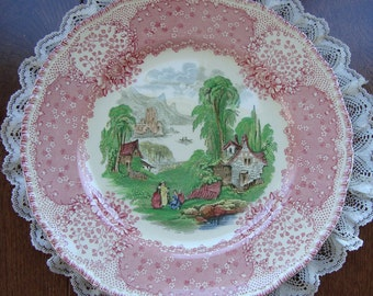 """Chatham by Royal Doulton - 10"""" Dinner or Cabinet Plate - Pink Border with Scenic Center"""