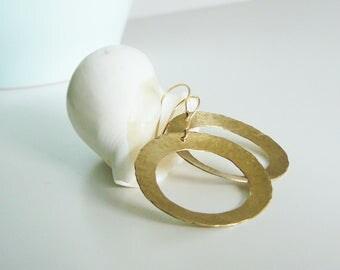 NEW: hammered brass earrings, boho earrings, hoop earrings, hammered earrings, domed dangle earrings, earrings nickel free, round earrings