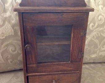 Salesman Sample Glass Front Hutch with Linen Drawer