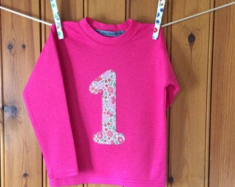 Baby girl 1st birthday outfit * girl birthday t shirt * personalised Tshirt * age top * liberty t shirt * 1st birthday * Yew Tree Stitches