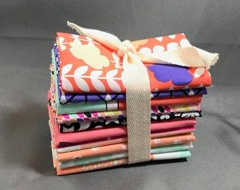 "Geometric Bliss Fat Quarter Bundle by Jeni Baker for Art Gallery Fabrics ~ 10 Peach, Purple and Pink 18""x22"" PreCut Cotton Quilt Pieces"