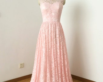 Cap Sleeves Sweetheart Blush Lace Long Bridesmaid Dress with Back Buttons