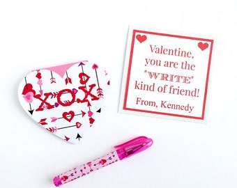 "Valentine ""Write"" kind of friend - Classroom Valentine Treat - fully assembled and personalized"