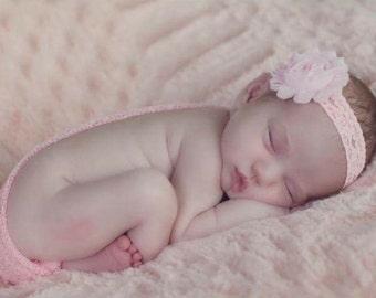 Light Pink Baby Girl Headband, Shabby Chic Headband, Light Pink Headband, Newborn Headband, Pink Lace Headband, Baby photos