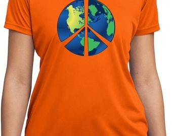 Ladies Peace Shirt Blue Earth Moisture Wicking Tee T-Shirt BLUEEARTH-LST350