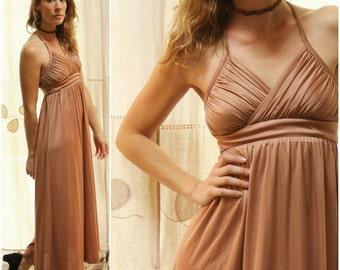 Vintage 1970s Champagne Gold, Bronze Sleeveless Strappy, Empire Waist Maxi Dress