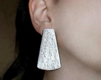 Big stud earrings Silver post earrings Long studs Minimalist earrings Statement studs Bold earrings Night jewelry Large earrings Bold posts