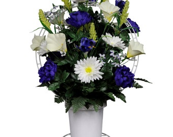 Purple Peonies and White Daisies and Calla Lilies Silk Flower Basket - Cemetery Flower Basket (BA1567)