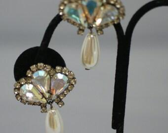 Faux Pearl and Rhinestone Clip Earrings