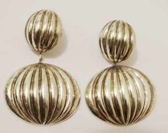 Rare Sterling Silver 44mm Long Dangling Earrings.