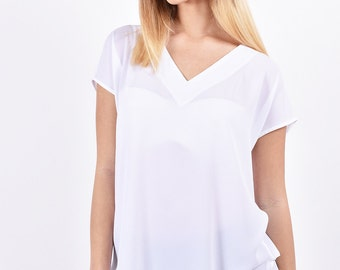 Womens white Blouse oversized top casual loose top v neck short sleeve shirt