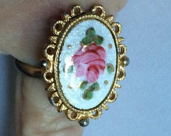 Enamel Rose Ring,Enamel Flower Ring,Pink White Ring,Adjustable RIng,Flower Ring,Feminine Ring,Pink Flower Ring,White Enamel Ring,Rose Ring