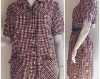60s Plaid Shirtdress