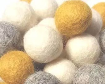 Felt ball garland (mustard, grey & white)