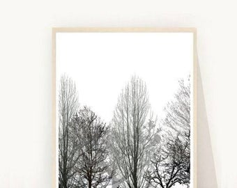 Scandi Art Print, Minimalist Poster, Forest Print, Printable Art, Black and White Print, Scandinavian Art, Modern Wall Art, Instant Download